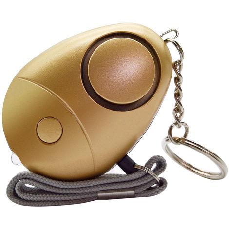 Alarme Personnelle, 120-130Db, Porte-Cles D¡¯Alarme De Securite, Or, 1 Pc