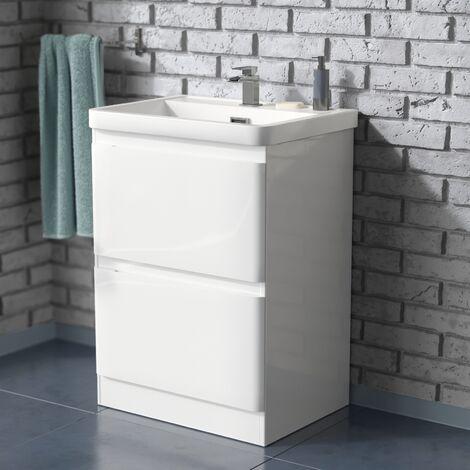 "main image of ""Alaska 600mm Floorstanding Bathroom Vanity Basin Unit White"""