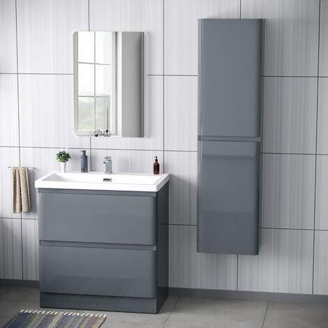 """main image of """"Alaska 800mm Floorstanding Vanity Basin Unit & Modern Tall Wall Hung Cabinet Dark Grey"""""""