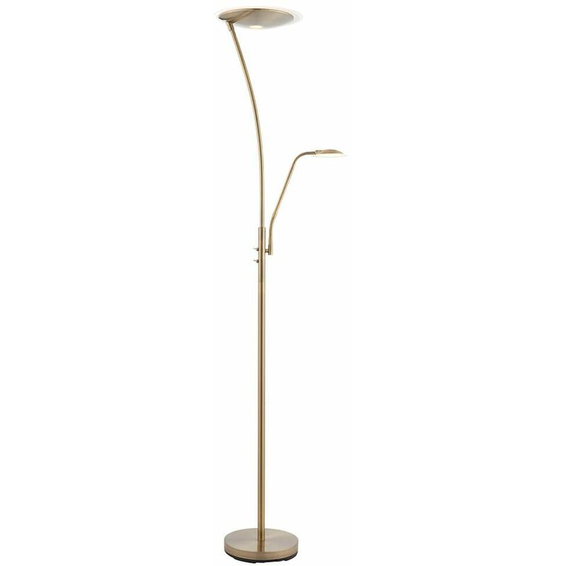 Image of 04-endon - Alassio floor lamp with reading light, antique brass and plastic