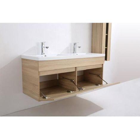 Superieur ALBAN Ensemble Salle De Bain Double Vasque Avec Miroir L 120 Cm   Decor Bois  Naturel