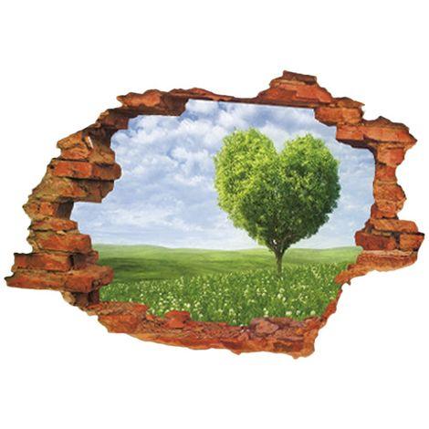Albero cuore - wall sticker Adesivo Murales Da Parete Sticker Effetto 3D Illusione ottica Buco Parete