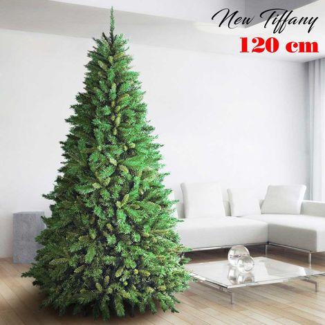 Albero Di Natale 120cm New Tiffany Super Folto 326 Rami Pino Verde Base a Croce
