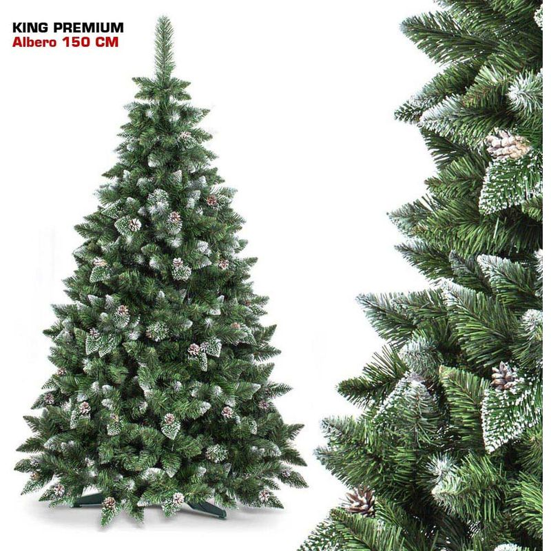 Albero Di Natale Con Foto.Albero Di Natale 150 Cm King Premium Verde Innevato 550 Rami Folto Con Pigne