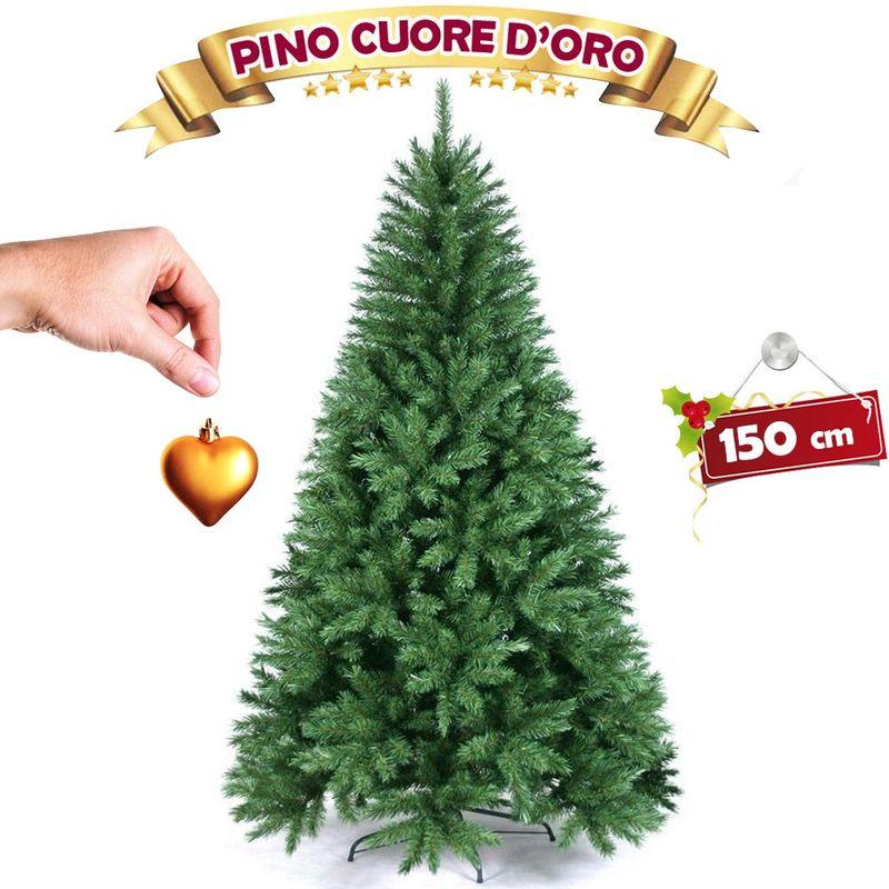 Albero Di Natale 150 Cm.Albero Di Natale 150 Cm Pino Cuore D Oro Verde Folto 375 Rami Base A Croce