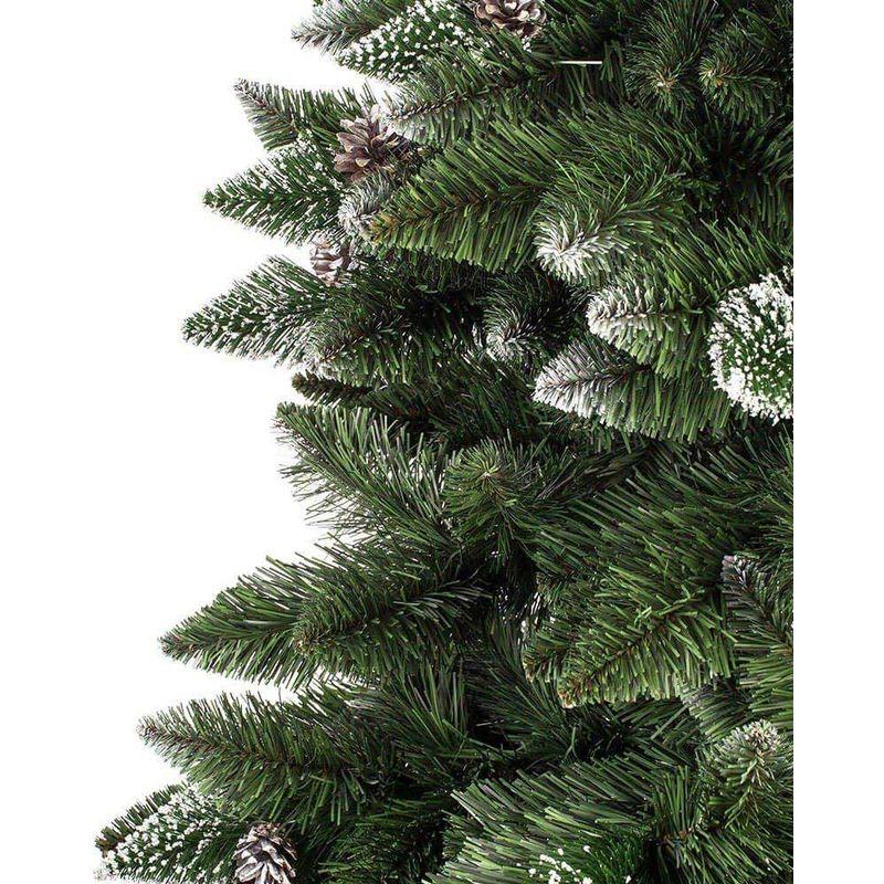 Albero Di Natale 800 Rami.Albero Di Natale 180 Cm King Premium Verde Innevato 800 Rami Folto Con Pigne