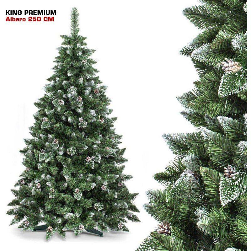Albero Di Natale 250 Cm.Albero Di Natale 250 Cm King Premium Verde Innevato 1600 Rami Folto Con Pigne