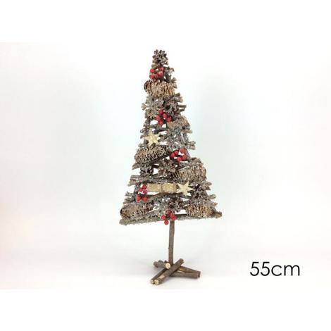 Albero Di Natale In Legno.Albero Di Natale Alberello In Legno Con Pigne E Bacche 55cm Shabby Chic 55cm