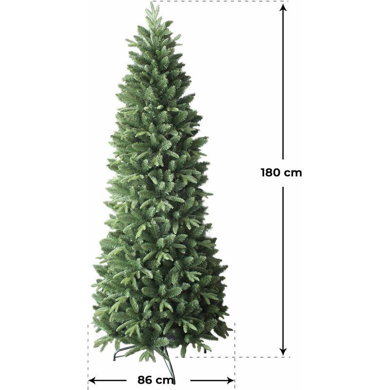 Albero Di Natale Diametro 60.Albero Di Natale Artificiale 180 Cm 43 Rami Vanzetti Slim Pino Del Gargano Verde