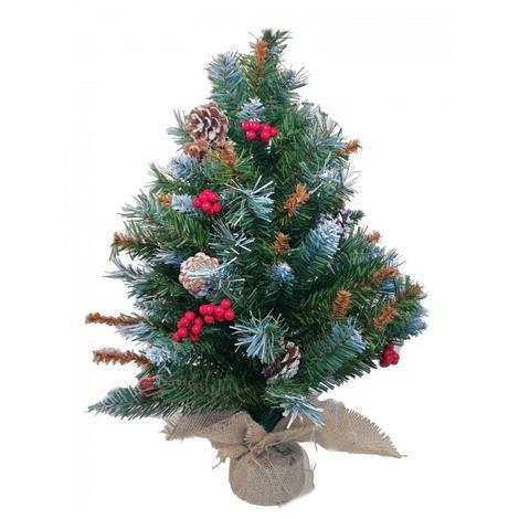 Alberelli Di Natale.Albero Di Natale Cm 60h Mod Lilliput Alberello Con Base A Sacco Con Decorazioni Pigne E Pungitopo