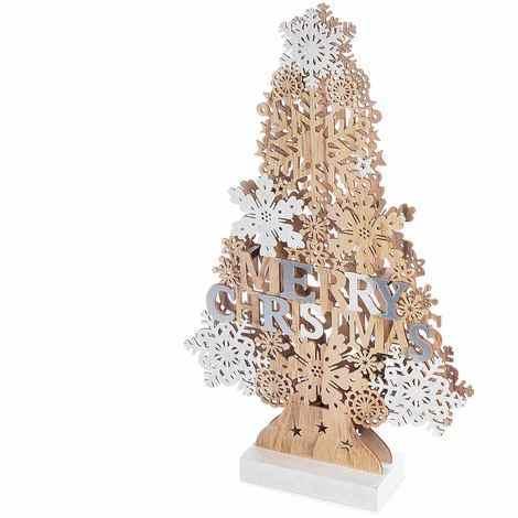 Albero Natale Legno.Albero Di Natale Da Tavolo In Legno Con Luci Led