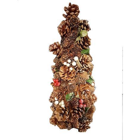 Decorazioni Natalizie Pigne.Albero Di Natale Di Pigne E Bacche H37x19cm Novita Decorazioni