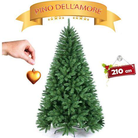 Albero di Natale FOLTO Artificiale, Base A Croce in Ferro, Rami INNESTO, Aghi ANTICADUTA FOLTISSIMO - 210 Altezza