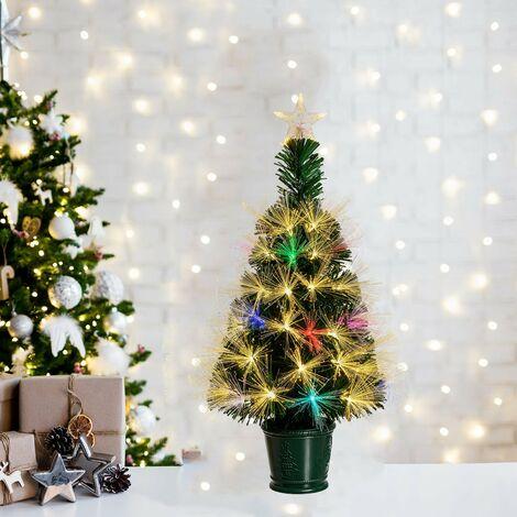 Albero Di Natale 70 Cm.Albero Di Natale In Fibre Ottiche Bianco Caldo E Rgb Da Interno Con Vaso 70cm 58811 0