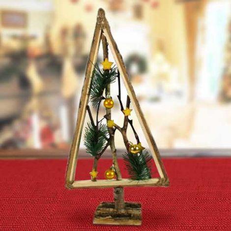 Albero Di Natale In Legno.Albero Di Natale In Legno Con Rametti E Palline Oro 58cm Decorazioni Natalizie