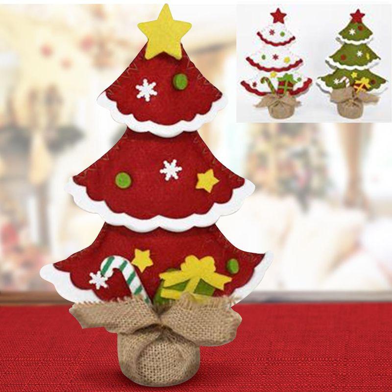 Addobbi Natalizi Juta.Albero Di Natale In Tessuto Feltro Con Base In Juta 25 Cm Decorazioni Natalizie