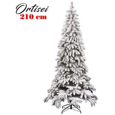 Albero Di Natale Innevato Slim 210cm Ortisei 1011 Rami Super Folto Effetto Neve
