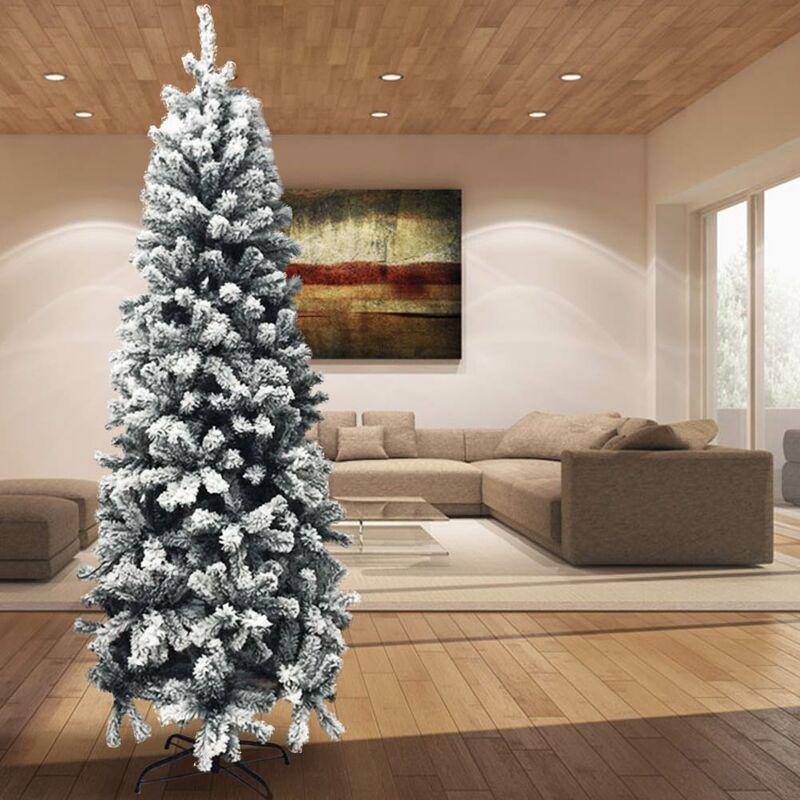 Albero Di Natale 80 Cm.Albero Di Natale Innevato Super Folto Pino Slim Salvaspazio Saint Moritz 210 Cm