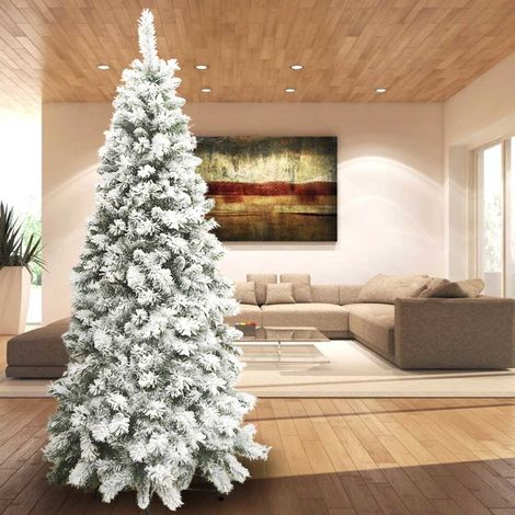 Albero di Natale Innevato Super Folto Pino Slim Salvaspazio Saint Moritz 210 Cm