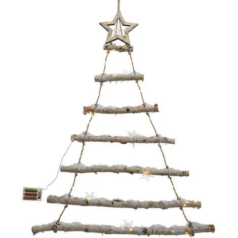 Albero Di Natale Led 2 5x70x90cm In Legno Addobbi Decoro Casa Interno