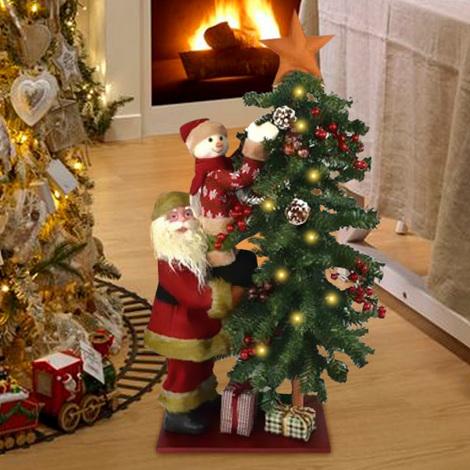 Foto Di Natale Albero.Albero Di Natale Luminoso 15 Led Con Babbo Natale E Pupazzo Di Neve Altezza 80cm
