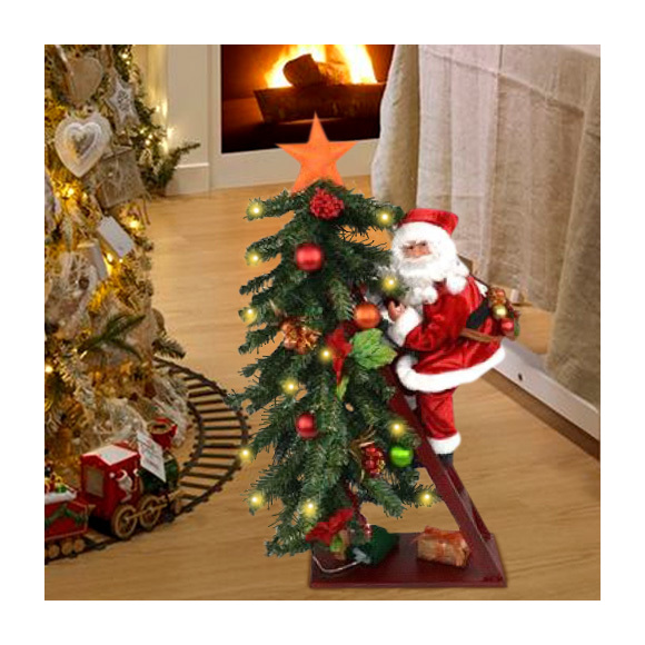Albero Di Natale 75 Cm.Albero Di Natale Luminoso 15 Led Giallo Con Babbo Natale Su Scala Altezza 75cm