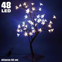 Albero di Natale Luminoso Ciliegio per Interno 48 LED 50cm Bianco Caldo e Freddo