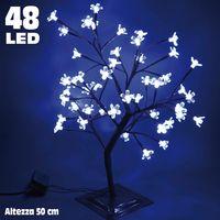 Albero di Natale Luminoso Ciliegio per Interno 48 LED Altezza 50cm Bianco Freddo