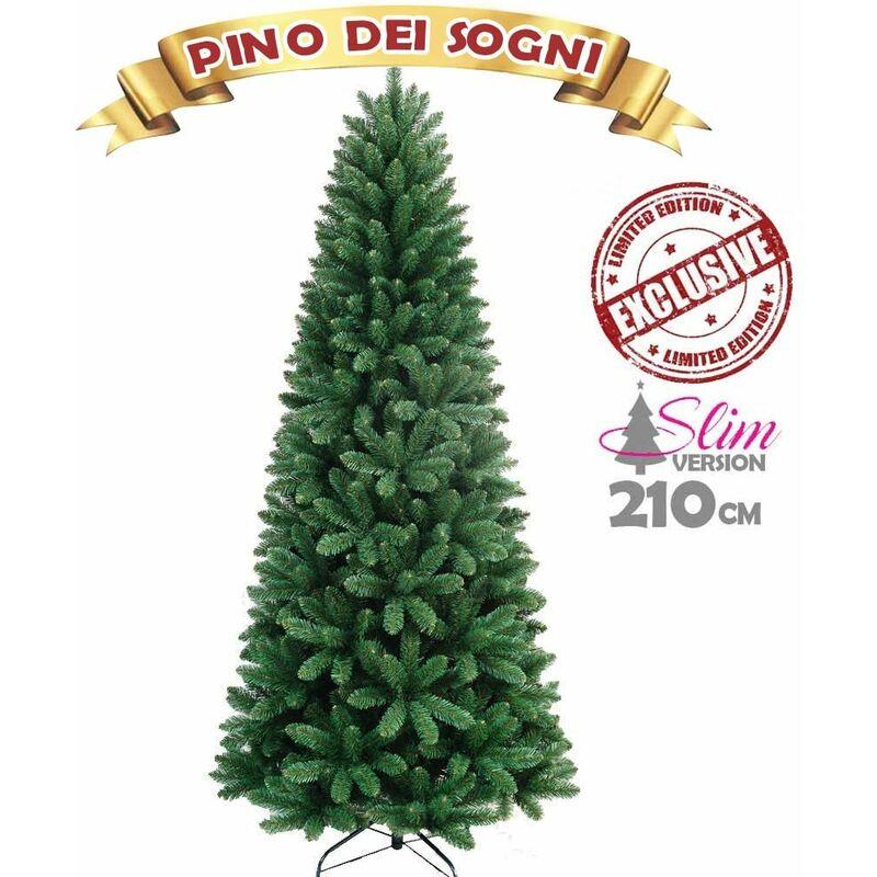 Albero Di Natale 210.Albero Di Natale Slim Pino Dei Sogni Altezza 210 Cm Base A Croce 850 Rami