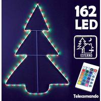Albero Natale Tubo Luminoso Esterno 162 LED RGB 91cm con Telecomando Giochi Luce