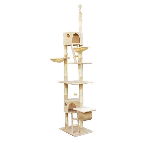 Albero tiragraffi a soffitto gioco per gatti 240-260cm beige cuccette e amache