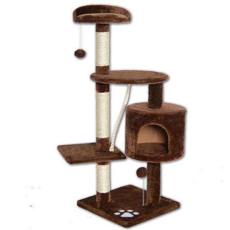 Albero tiragraffi per gatti 67x55xh112 cm 3 piattaforme 1 corda e palla Marrone