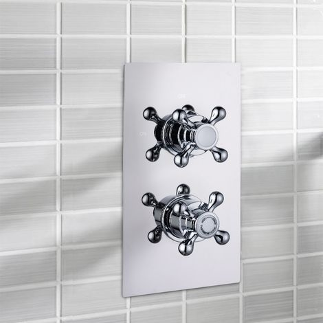 Albert Bathroom Traditional Cross Handle Thermostatic Concealed Shower Valve