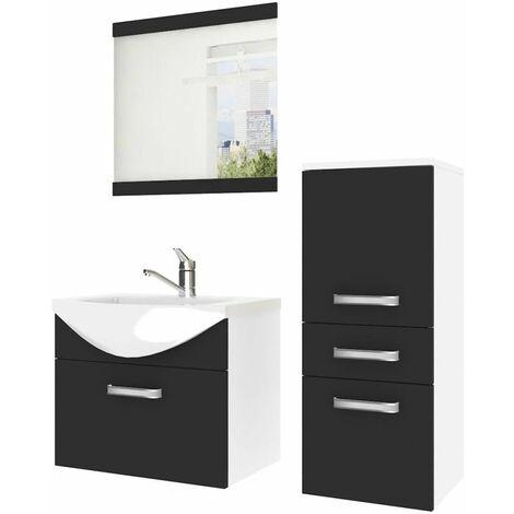 ALBERTE | Ensemble meubles salle de bain 4 pcs 50 cm | Miroir + Lavabo + Meuble sous lavabo | Vasque céramique - Noir/Blanc