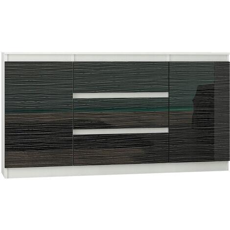 ALBI W2 | Commode contemporaine 3 tiroirs | 140x40x76 cm | Meuble rangement chambre/salon/bureau | Buffet Finition Laquée - Blanc/Noir