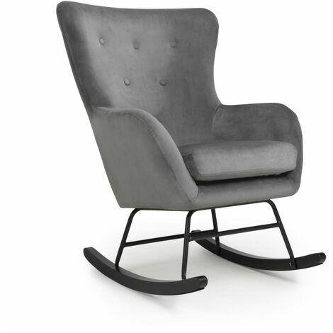 Albino Brushed Velvet Grey Rocking Chair