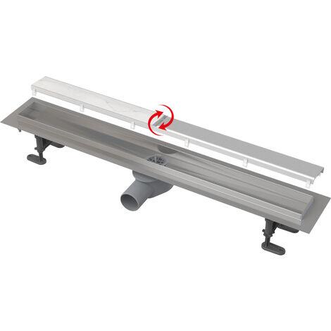 Alca Caniveau de douche Fit and go avec grille double face, acier inoxydable ou revêtement à personnaliser (APZ13-DOUBLE9-550)