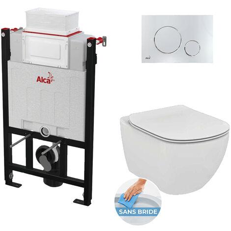 Alca Pack Bâti-support 85cm + Cuvette Tesi AquaBlade sans bride + Plaque de commande chrome (alca85Tesi-8)