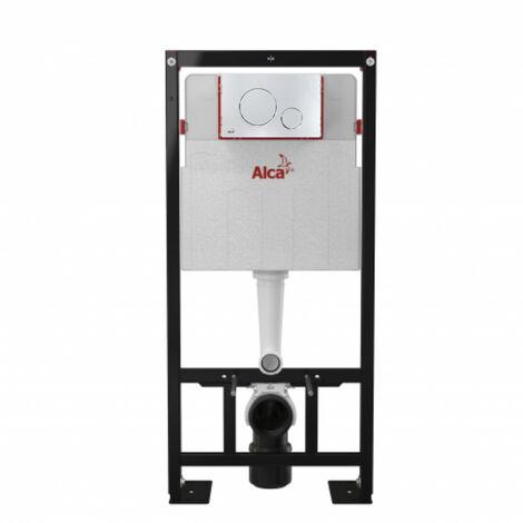 Alca Pack Bâti-support autoportant + Plaque chrome brillante double touche contour chrome (AM101/1120-DN100-1)