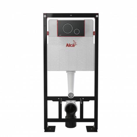 Alca Pack Bâti-support autoportant + Plaque noir mat double touche contour chrome (AM101/1120-DN100-2)
