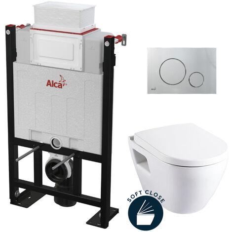 Alca Pack WC Bâti 85 cm autoportant avec Cuvette Serel SM10 + abattant softclose + Plaque chrome mat (Alca85FSM10-5)