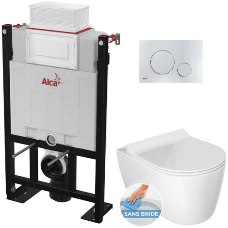 Alca Pack WC Bâti 85 cm autoportant + WC Idevit Alfa sans bride fixations invisibles + Plaque chrome brillant (Alca85FAlfa-5)