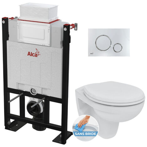 Alca Pack WC Bâti 85 cm autoportant + WC Porcher Eurovit sans bride + Abattant softclose + Plaque chrome brillant (Alca85FPorcher-6)