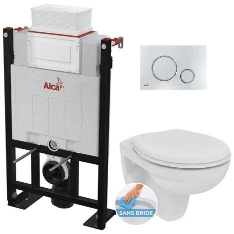 Alca Pack WC Bâti 85 cm autoportant + WC Porcher sans bride + Abattant déclipsable + Plaque chrome brillant (Alca85FPorcher-6)