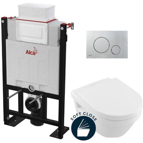 Alca Pack WC Bâti 85 cm autoportant + WC Villeroy & Boch Architectura + abattant softclose + Plaque chrome mat (Alca85Farchi-5)