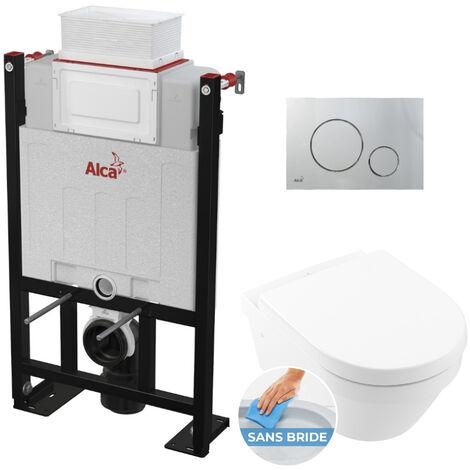 Alca Pack WC Bâti 85 cm autoportant + WC Villeroy & Boch Architectura sans bride + Plaque chrome mat (Alca85Farchi2-5)