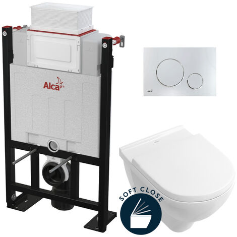 Alca Pack WC Bâti 85 cm autoportant + WC Villeroy & Boch O.NOVO + abattant softclose + Plaque chrome brillant (Alca85FOnovo-8)