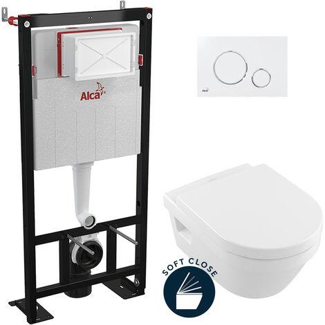 Alca Pack WC Bâti autoportant + Cuvette Architectura ovale + Abattant soft close + Plaque blanche et chrome (AlcaArchitectura-9)