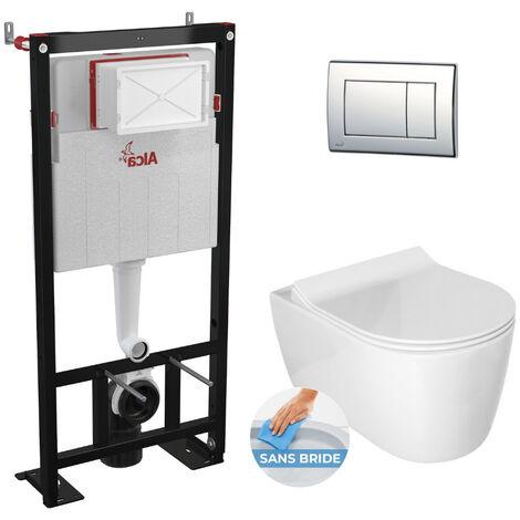 Alca Pack WC Bâti autoportant + Cuvette Idevit Alfa sans bride fixations invisibles + Abattant softclose + Plaque chrome (AlcaAlfa-1)