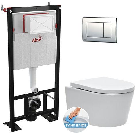 Alca Pack WC bâti-autoportant + Cuvette SAT sans bride, fixations invisibles + Abattant softclose + Plaque chrome (AlcaSATrimless-1)